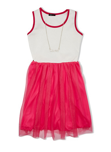 Girls 7-16 Dress with Tulle Skirt and Necklace,IVORY/NEON FUCSIA,large