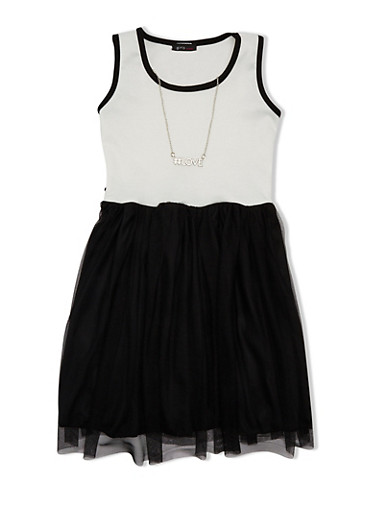 Girls 7-16 Dress with Tulle Skirt and Necklace,IVORY/BLACK,large