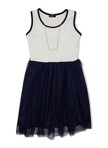 Girls 7-16 Dress with Tulle Skirt and Necklace,IVORY / NAVY,large