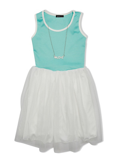 Girls 7-16 Dress with Tulle Skirt and Necklace,MINT/IVORY,large