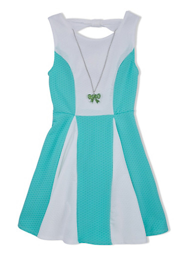 Girls 7-16 Color Block Skater Dress with Cutout Bow and Necklace,MINT,large