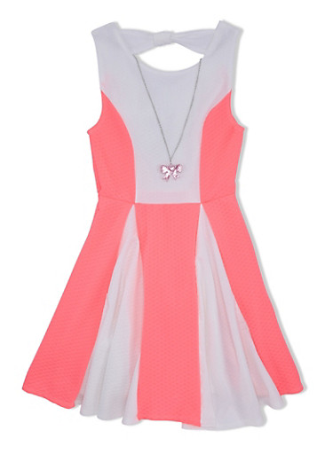 Girls 7-16 Color Block Skater Dress with Glitter Bow Necklace and Open Back,NEON PINK,large