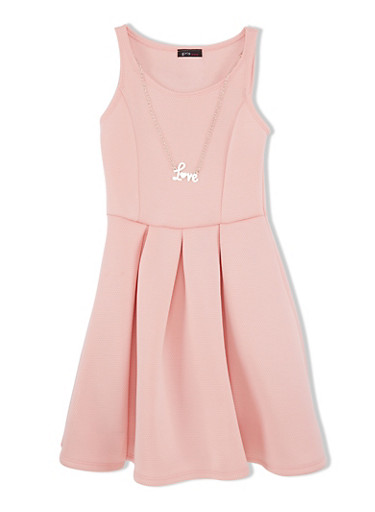 Girls 7-16 Sleeveless Skater Dress with Love Necklace and Pleats,BLUSH,large