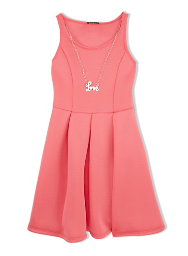 Girls 7-16 Sleeveless Pleated Fit and Flare Dress with Love Necklace,CORAL,large