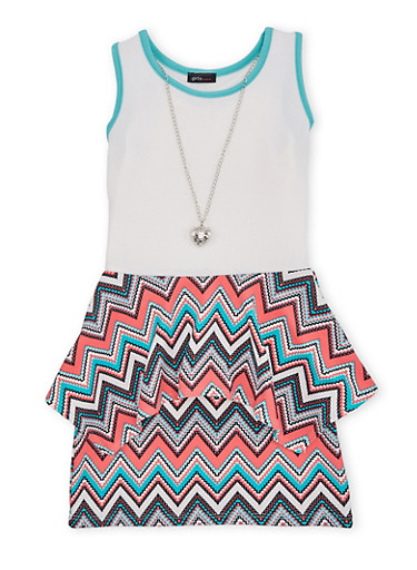 Girls 7-16 Tank Dress with Aztec Print Sharkbite Peplum and Necklace,MINT,large