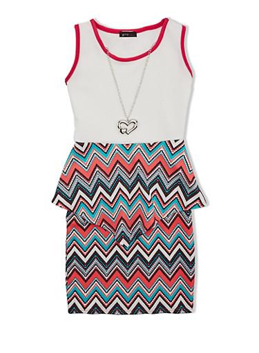 Girls 7-16 Chevron Peplum Dress with Detachable Necklace,FUCHSIA,large