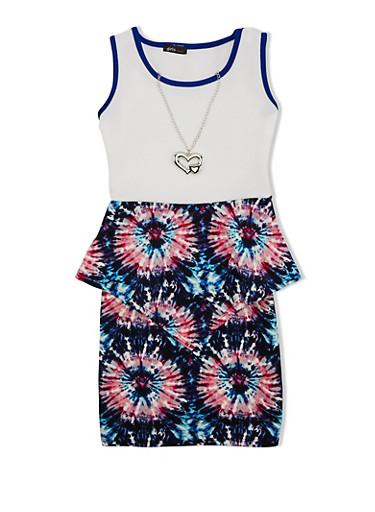 Girls 7-16 Tie-Dye Peplum Dress with Detachable Necklace,RYL BLUE,large