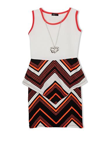 Girls 7-16 Zig Zag Peplum Dress with Detachable Necklace,IVORY,large