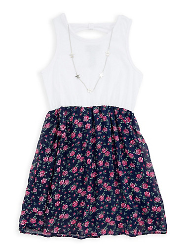 Girls 7-16 Floral Tank Dress with Necklace,WHITE,large