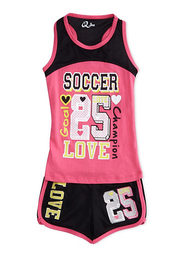 Girls 4-6x Graphic Tank Top and Mesh Shorts Set,NPINK/BLK,large