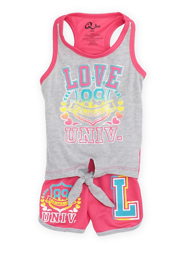 Girls 4-6x Two Piece Graphic Tank Top and Runner Shorts with Love Univ Print,PINK/GREY,large