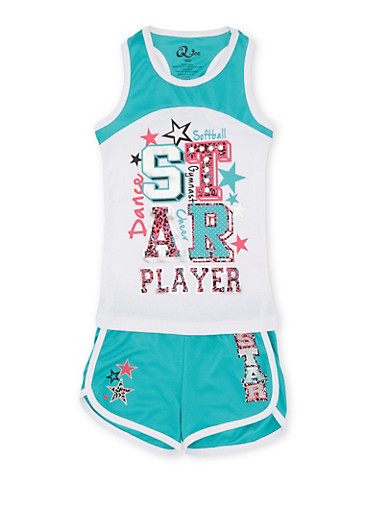 Girls 4-6x Athletic Jersey with Star Player Graphic and Mesh Shorts Set,JADE/WHT,large