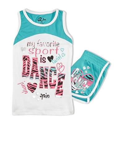 Girls 4-6x Dance Graphic Tank Top with Matching Shorts Set,JADE/WHT,large