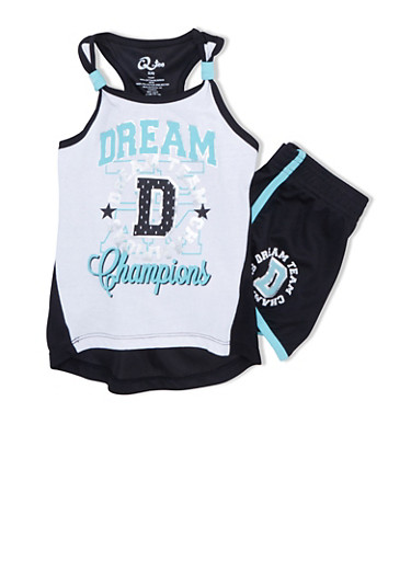 Girls 4-6x Tank Top with Dream Champions Graphic and Matching Shorts Set,BLK/WHT,large