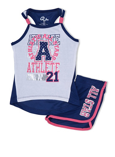 Girls 4-6x Graphic Jersey Tank Top with Mesh Racerback and Mesh Shorts Set,NAVY/WHT,large
