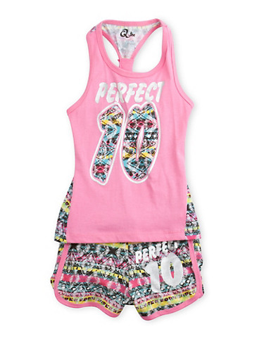 Girls 4-6x Printed Tank Top and Shorts Set with Graphic,PINK,large