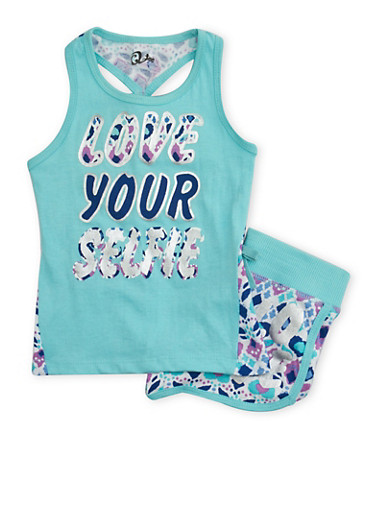 Girls 4-6X Printed Tank Top and Shorts Set with Graphic,SEAFOAM,large