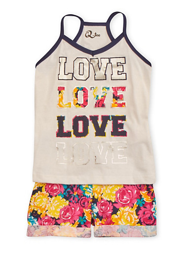 Girls 4-6x Cuffed Drawstring Shorts with Floral Print and Love Tank Set,WHT,large