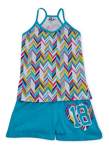 Girls 4-6x Printed Tank Top and Shorts Set,AQUA,large