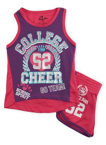 Girls 4-6x Cheerleader Tank Top and Shorts Set,NPURP/NPNK,large