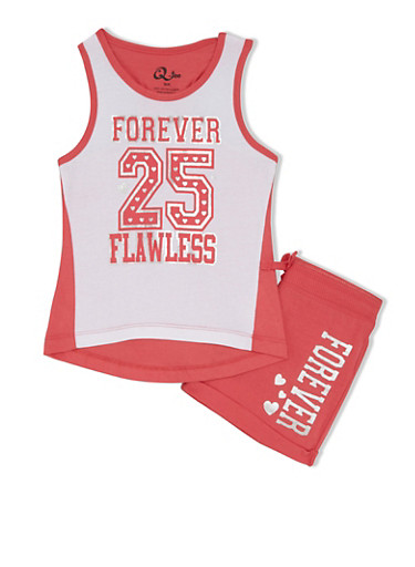 Girls 4-6x Forever Flawless Tank Top with Matching Shorts Set,WHT/CORAL,large