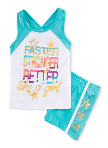 Girls 4-6x Like a Girl Graphic Tank Top and Shorts Set,JADE,large