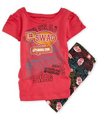 Girls 4-6x Printed T-Shirt and Leggings Set,CORAL,large