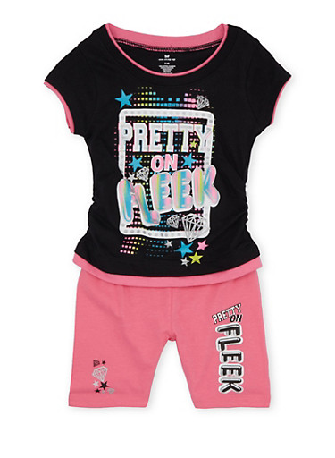 Girls 4-6x Graphic Tank Top and Printed Shorts Set,BLACK,large