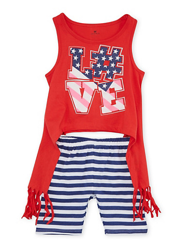 Girls 4-6x Americana Graphic Tank Top and Stripe Cropped Leggings Set,RED,large