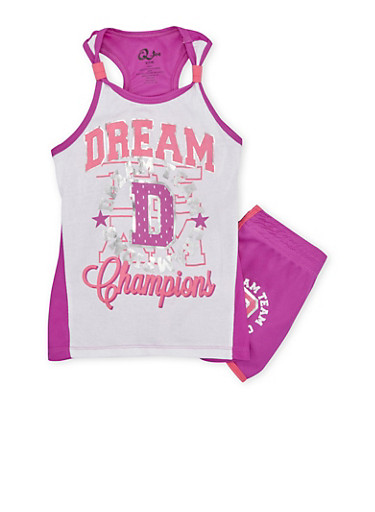 Girls 7-12 Athletic Racerback Tank Top and Shorts Set with Mesh Accent Paneling,NPURP/WHT,large