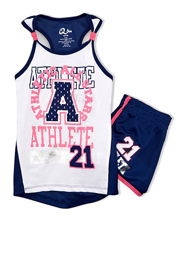 Girls 7-12 Jersey Tank Top and Shorts Set with Mesh Accent Paneling,NAVY/WHT,large
