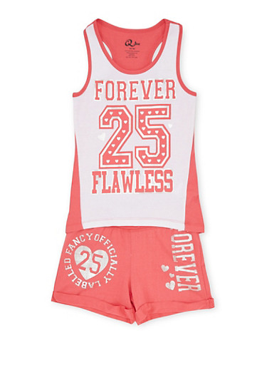 Girls 7-12 Athletic Top and Shorts Set with Forever Flawless Graphic,WHT/CORAL,large