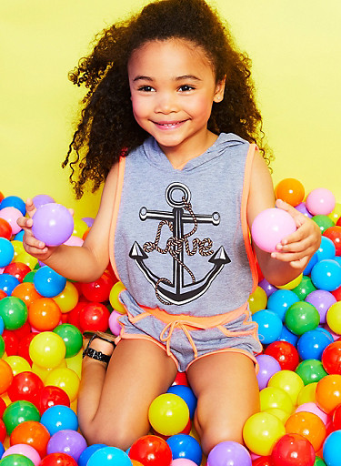 Girls 4-6x Sleeveless Anchor Graphic Hooded Romper,HEATHER,large