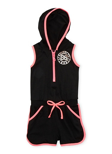Girls 4-6x Brooklyn 86 Graphic Romper with Hood,BLACK,large