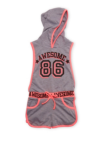 Girls 4-6x Awesome 86 Graphic Hooded Romper with Open Sides,HEATHER,large