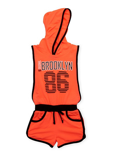 Girls 4-6x Brooklyn 86 Graphic Romper with Open Sides,BLACK,large