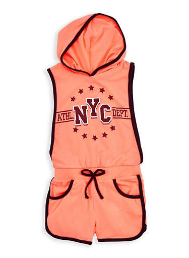 Girls 4-6x NYC Graphic Contrast Trim Romper,NCORL/BLK,large