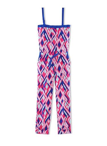 Girls 4-6x Printed Jumpsuit with Drawstring Waist,FUCHSIA,large