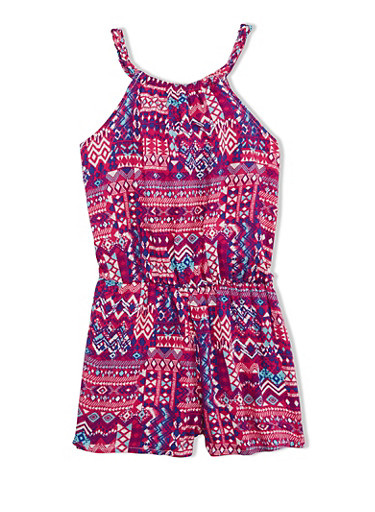 Girls 4-6x Aztec Print Romper with Halter Neck and Cinched Waist,FUCHSIA,large