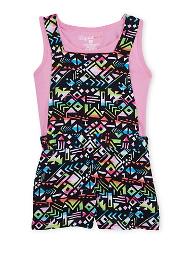 Girls 4-6X Geo Print Shortalls and Solid Tank Top Set,MULTI COLOR,large