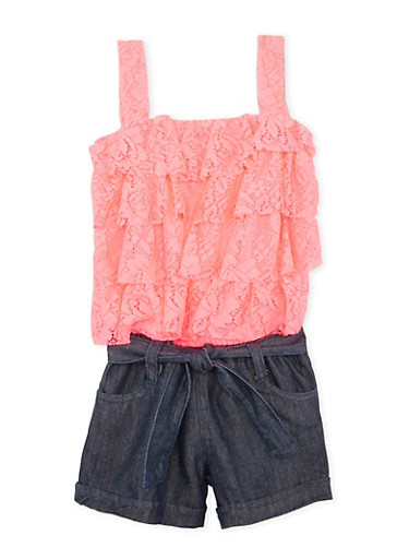 Girls 4-6x Belted Romper in Lace and Denim,NEON PINK,large