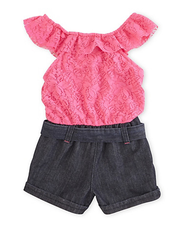 Girls 4-6x Popover Lace Romper with Denim and Tassel Neckline,NEON PINK,large