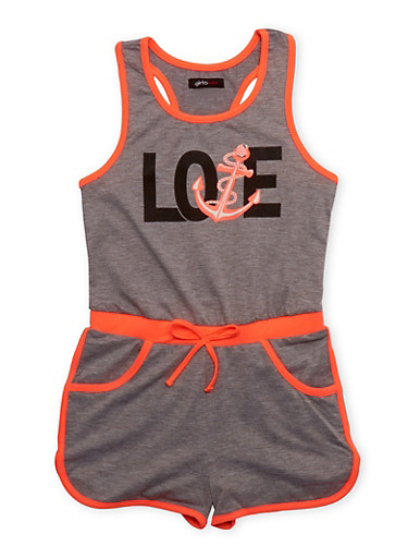 Girls 7-16 Love Anchor Graphic Romper with Contrast Trim,HEATHER,large