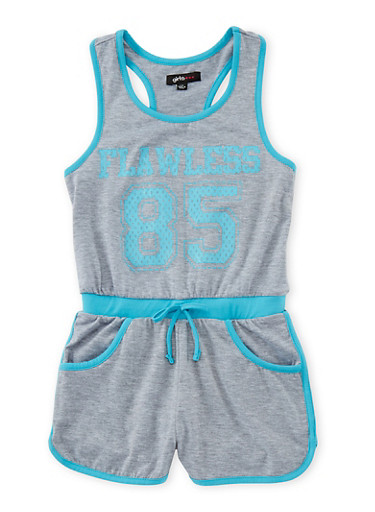 Girls 7-16 Sleeveless Athletic Flawless Graphic Romper,TURQUOISE,large