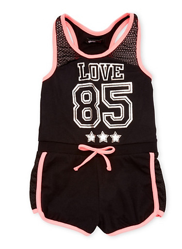 Girls 7-16 Love 85 Graphic Romper with Mesh Accent,BLACK,large