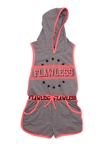 Girls 7-16 Flawless Graphic Hooded Romper with Open Sides,HEATHER,large