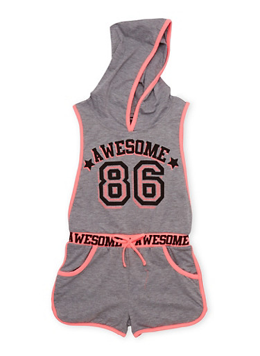 Girls 7-16 Awesome 86 Graphic Romper with Open Sides,HEATHER,large