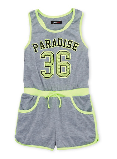 Girls 7-16 Paradise 36 Graphic Romper,LIME,large