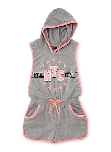 Girls 7-16 Athletic NYC Graphic Romper,HEATHER,large