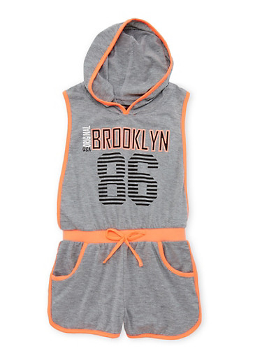 Girls 7-16 Sleeveless Hooded Romper with Brooklyn Graphic,HEATHER,large